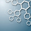 Chemistry abstract white chemical molecule design on blue background Stock Photo