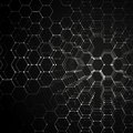 stock image of  Chemistry 3D pattern, hexagonal molecule structure on black, scientific medical research. Medicine, science and