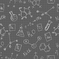 Chemistry doodles seamless pattern vector illustration Royalty Free Stock Photo