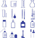 Chemistry glassware and tools Royalty Free Stock Images