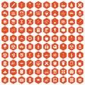 100 chemistry icons hexagon orange