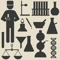 Chemistry icons set of vector illustration Royalty Free Stock Images