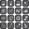 Chemistry icons sixteen grey in one file Stock Image