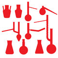 Chemistry lab glasses collection red silhouettes isolated on white Royalty Free Stock Image