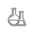 Chemistry lab glassware line icon