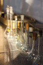 Chemistry laboratory glass containers test tubes Royalty Free Stock Images