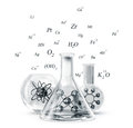 Chemistry laboratory glassware isolated on a white background Royalty Free Stock Photography