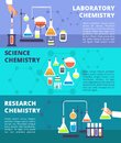 Chemistry laboratory research lab and science technology, biological lab experiment vector banners set Royalty Free Stock Photo