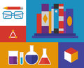 Chemistry retro illustration flat design vector icons of materials and elements isolated on colored background Royalty Free Stock Photo