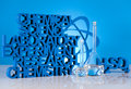 Chemistry science formula laboratory glassware research and experiments Stock Photos
