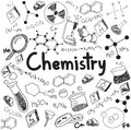 Chemistry science theory and bonding formula equation doodle ha handwriting tool model icon in white background paper used for Royalty Free Stock Photos