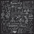 Chemistry and sciense elements doodles icons set hand drawn sketch with microscope formulas experiments equpment analysis tool Royalty Free Stock Photography