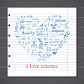 Chemistry and sciense elements doodles icons set hand drawn sketch with microscope formulas experiments equpment analysis tool Royalty Free Stock Photo