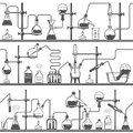 Chemistry seamless pattern with formulas and laboratory equipment. Science background Royalty Free Stock Photo