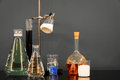 Chemistry set a of viles and flasks Stock Photo