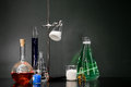 Chemistry set a of viles and flasks Stock Image