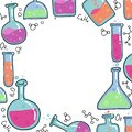 Chemistry Test tubes vector outlined sketch round frame. Kids Education illustration in thin line color doodle style. Set of Hand