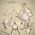 Chemists researching again making experiments in the laboratory illustration Stock Photography