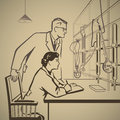 Chemists waiting and researching for results of research in the laboratory retro illustration Stock Photography