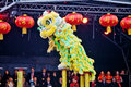 Chen brothers Chinese Lion dance Royalty Free Stock Photo