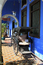 The cheong fatt tze mansion georgetown penang colonnade with rickshaws of also called blue house at malaysia Stock Images