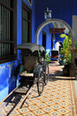 The cheong fatt tze mansion georgetown penang colonnade with rickshaws of also called blue house at malaysia Stock Image