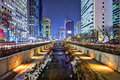 Cheonggyecheon in seoul stream south korea is the result of a massive urban renewal project Stock Images