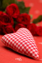 Chequered fabric heart and roses Royalty Free Stock Images