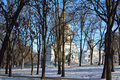 CHERNIHIV/UKRAINE - JANUARY 08 2015: alley in the Val park Royalty Free Stock Photo