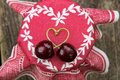Cherries arranged as a heart Stock Photo