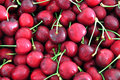 Cherries background of the red with stem Royalty Free Stock Photo