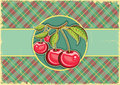 Cherries background vector vintage label old paper Stock Photos