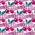Cherries berries on checkered hearts. Summer lettring. Vector seamless pattern background. Royalty Free Stock Photo