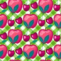 Cherries berries on green checkered hearts. Summer lettring. Vector seamless pattern background. Royalty Free Stock Photo
