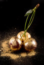 Cherries on black background with gold powder macro Stock Photos