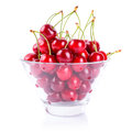 Cherries in the bowl over white sweet red Stock Photo