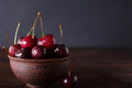 Cherries in ceramic bowl Royalty Free Stock Photo