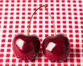 Cherries On Check Stock Image