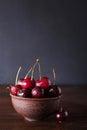 Cherries. Cherry. Cherries in ceramic bowl . Red cherry. Fresh cherries. Cherry on dark background.
