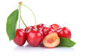 Cherries cherry fresh organic summer fruits fruit isolated on wh Royalty Free Stock Photo