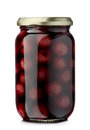 Cherries compote jar of cherry isolated on white Royalty Free Stock Photo
