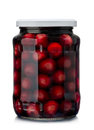 Cherries compote jar of cherry isolated on white Stock Photos