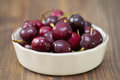 Cherries in dish on dark Royalty Free Stock Photo