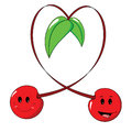 Cherries forming a heart couple of happy with their stems Royalty Free Stock Photos
