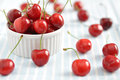 Cherries fresh organic red with stems Stock Image