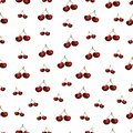 Cherries fruit seamless pattern. illustration of red cherries set pattern isolated on white background.Watercolor hand drawn Royalty Free Stock Photo