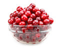 Cherries in glass bowl isolated on white Royalty Free Stock Photo