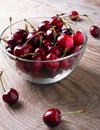 Cherries in a glass bowl Royalty Free Stock Photo