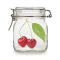 Cherries in glass jar Royalty Free Stock Photo