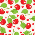 Cherries and hearts summer seamless beige background with red Royalty Free Stock Image